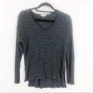 Madewell Striped V-Neck Long Sleeve T-Shirt